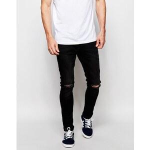 Produkt - Superenge Jeans mit Rissen in verwaschenem Schwarz - Verwaschenes Schwarz