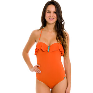 La Playa Maillot Une Pièce Orange Bustier à Volants - Maio Pedra Orange
