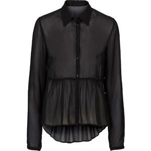 RAINBOW Bluse mit asymmetrischem Saum langarm in schwarz von bonprix