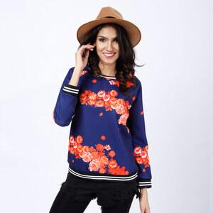 Lesara Pullover mit Blumen-Print - Dunkelblau - S