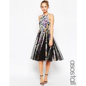 ASOS TALL - Robe mi-longue à corsage ajusté et jupe évasée en tissu ajouré à imprimé floral sombre - Multi