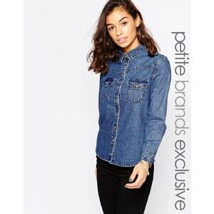 Glamorous Petite - Chemise en jean brodée au dos - Bleu