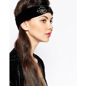 Monki - Verziertes Samt-Haarband - Schwarz