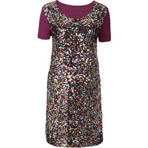 RAINBOW Shirtkleid mit Pailetten/Sommerkleid kurzer Arm in lila von bonprix