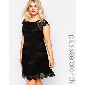 AX Paris Plus - Robe en dentelle frangée - Noir