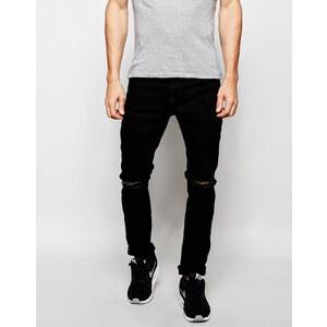 Produkt - Schwarze Skinny-Jeans mit Zierrissen - Schwarz