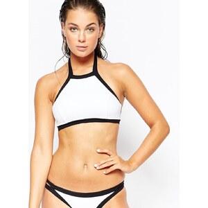 Seafolly - Block Party - Top de bikini à encolure montante style débardeur - Blanc