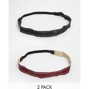 ASOS - Haarbänder in Lederoptik mit Lasercut, 2er-Set - Mehrfarbig