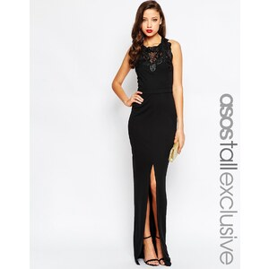 ASOS TALL RED CARPET - Robe longue bordée de dentelle - Noir