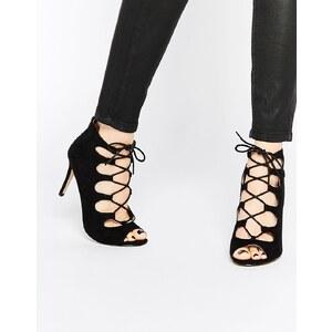Oasis - Sandalen mit hohem Absatz und Schnürung - Schwarz
