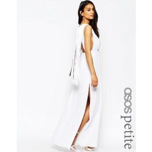 ASOS PETITE - Maxi robe avec dos frangé - Blanc