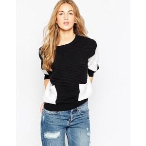 ASOS - Pullover mit Taschen und Farbblockdesign in Schwarz-Weiß - Mehrfarbig