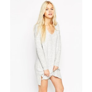 ASOS - Weiches Pulloverkleid mit tiefem V-Ausschnitt