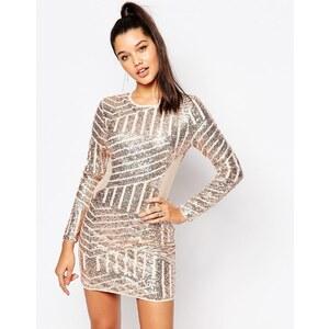 Missguided - Figurbetontes Kleid mit Pailletten und Netz - Gold