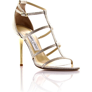 Jimmy Choo Damen Sandalen Leder gold crinkled