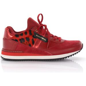 Dolce & Gabbana Damen Sneakers Nigeria Leder Veloursleder Ponyhaar rot