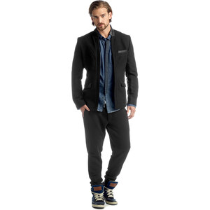 Esprit blended wool blazer with leather