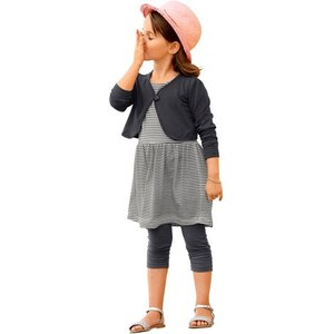 KIDOKI Bolero Kleid & Leggings (Set 3-tlg.) für Mädchen grau 104/110,116/122,128/134,140/146,92/98