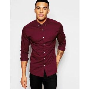 ASOS - Schmales Hemd aus burgunderrotem Twill - Burgunderrot