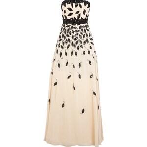 Luxuar Abendkleid mit Blättern aus Mesh und Zierperlen