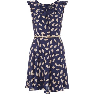 Apricot Kleid mit Taillengürtel und Rüschenbesatz