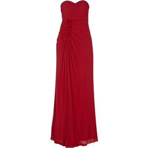 Mariposa Abendkleid mit Blüten-Applikationen und Raffungen