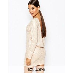 Club L - Minikleid mit Pailletten und Schalkragen hinten - Gold/Blush