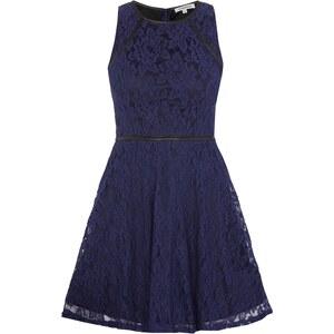 Glamorous Kleid aus floraler Spitze mit Besatz in Leder-Optik