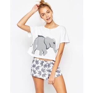 ASOS - Schlafanzugset aus T-Shirt und Shorts mit Elefantenmotiv - Mehrfarbig
