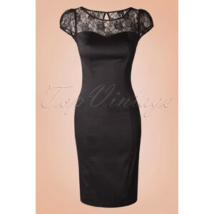 Hearts & Roses 50s Irene Lace Pencil Dress in Black
