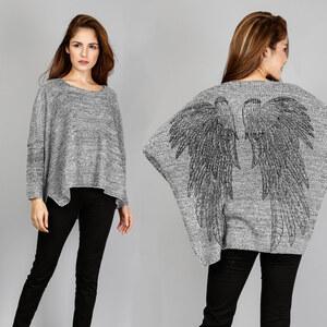 Lesara Pull ample et chiné avec ailes