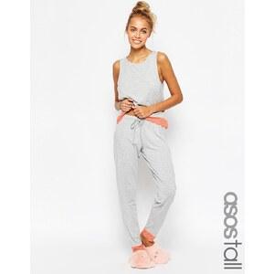 ASOS TALL - Pyjama avec débardeur et leggings bordés de dentelle - Gris