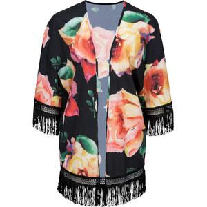 BODYFLIRT Kimono à franges noir femme - bonprix