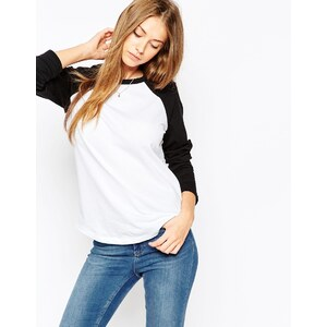 ASOS - T-Shirt mit Kontrastärmeln - Weiß