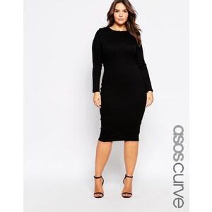 ASOS CURVE Midi Bodycon Dress In Rib - Black