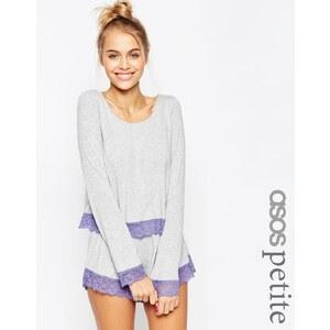 ASOS PETITE - Pyjamaset mit langärmligen Oberteil mit Spitzenbesatz und Shorts - Grau