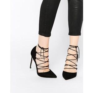 ASOS - PROP - Chaussures pointues à talons hauts et lacets - Noir