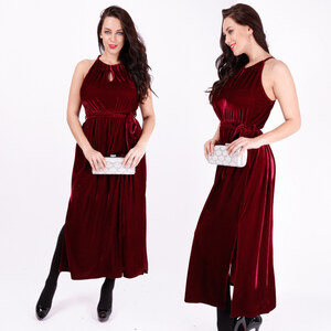 Lesara Maxi-Kleid im Crash-Samt-Design - 48