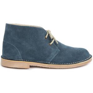 M.STUDIO Blaue Chukka Blake-Schuhe aus Veloursleder