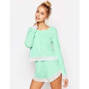 ASOS - Langärmliges, spitzenverziertes Pyjama-Set mit T-Shirt & Shorts - Mint