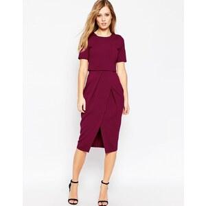 ASOS - Zweilagiges, texturiertes Kleid - Moosbeere