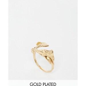 ASOS - Bague feuille ajourée en argent massif plaqué or - Doré