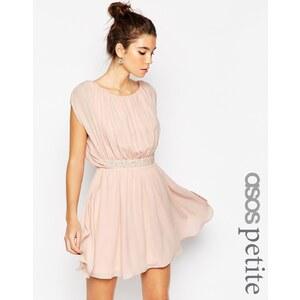 ASOS Petite - Robe courte avec taille ornementée - Rose