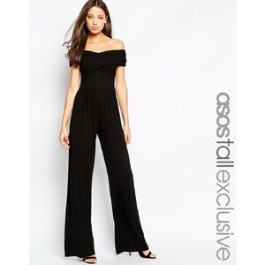 ASOS TALL - Combinaison à encolure Bardot et jambes larges - Noir