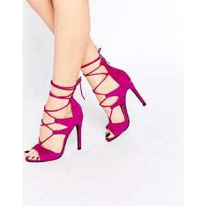 Public Desire - Absatz-Sandalen mit Ghillie-Schnürung in Magenta - Rosa