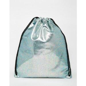 ASOS - Rucksack mit Kordelzug und Öl-Effekt - Blau