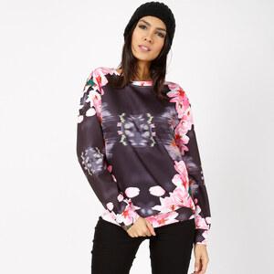 Lesara Print-Sweater mit Blumen-Muster - M