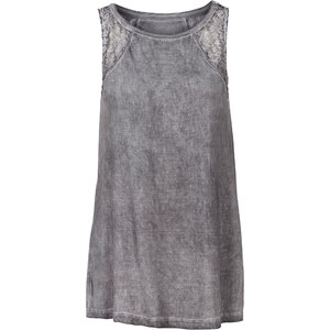 RAINBOW Top mit Spitzeneinsätzen in grau für Damen von bonprix