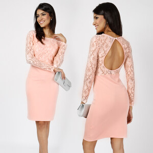 Lesara Langärmeliges Kleid mit Rückenausschnitt - L