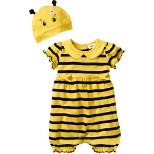 bpc bonprix collection Combinaison bébé à manches courtes + bonnet (Ens. 2 pces.) en coton bio jaune enfant - bonprix
